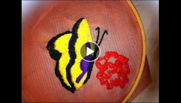 Embroidery butterfly with rose mainly buttonhole and romanian stitch