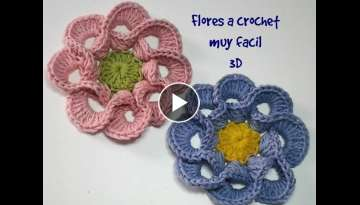 Flores a crochet muy facil 3D #tutorial