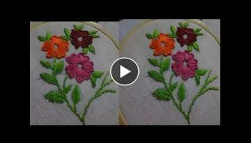 Hand Embroidery Flower Design Buttonhole Stitch