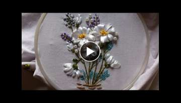 Ribbon embroidery stitches by hand tutorial- Ribbon embroidery designs for cushion covers