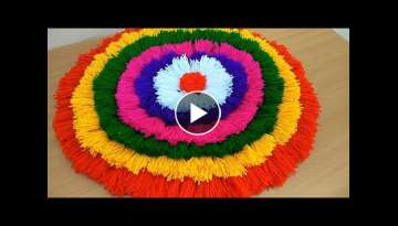 BEAUTIFUL DOOR MATE FROM WOOLEN || DIY - HOW TO MAKE WOOLEN DOOR MATE AT HOME || DIY - TABLE MATE
