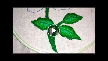 Hand embroidery how to make shaded leaf with long and short stitch