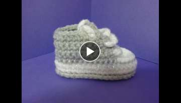 How to crochet My easy new born baby converse style slippers p1