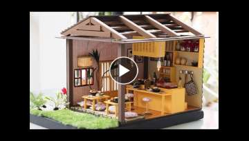 DIY Miniature Dollhouse Kit - Sushi Restaurant with Working Lights - YouTube