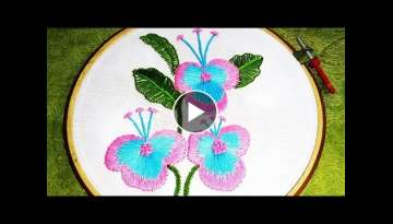 Hand Embroidery Flower Design with Long and Short Stitch | Hand Embroidery Design