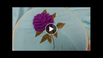 Hand embroidery 3D rose flower with easy basic stitch