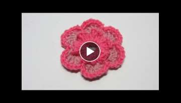 Tutorial. Flor de lana de dos colores en ganchillo.