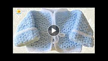 Newborn Baby Cardigan Crochet Pattern - V-Stitch Sweater Tutorial