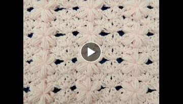 Crochet: Punto Flor Puff # 3 para mantas - YouTube