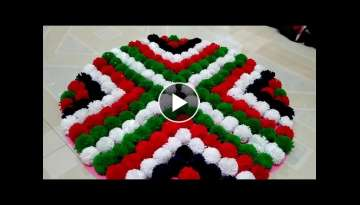 HOW TO MAKE DOOR MAT WITH WOOLEN \\ HOWTO MAKE POM POM FROM WOOLEN \\ DOOR MAT RUG FROM WASTE W