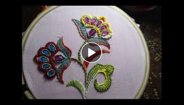 Hand Embroidery Designs | Bead stitch with double buttonhole | Stitch and Flower-106