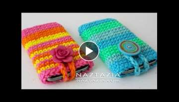 DIY Tutorial - How to Crochet Easy Mobile Cell Phone Pouch Case Cover Holder for iPhone iPod Sams...