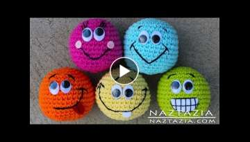 Learn How to Crochet - Basic Beginner Amigurumi Smiley Face Hacky Sack Ball Toy SC2TOG INVDEC Emo...