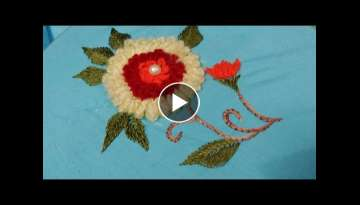 Hand embroidery flower with roseate chain stitch