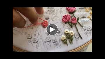 Stem Stitch Flower Rose Tutorial