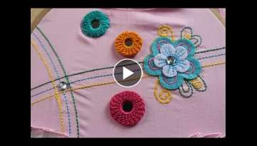 Hand Embroidery Designs | Ring mirror work | Stitch and Flower-153