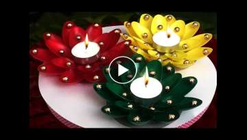 DIY Diwali/Christmas Home Decoration Ideas : How to Decorate Christmas Candles from Plastic Spoon...
