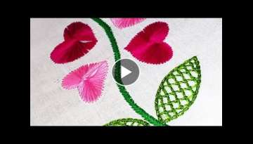 Hand Embroidery Patterns with Butterfly Stitch and Net Stitch